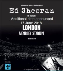 Ed Sheeran Wembley Stadium June 2018