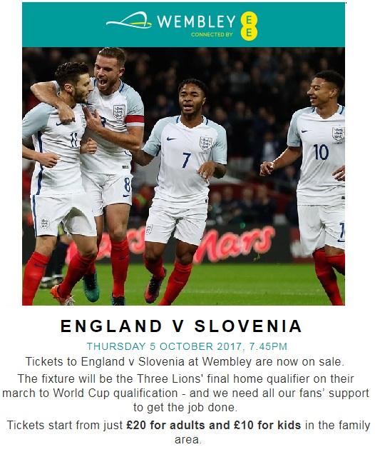 England v Slovenia Wembley 2017