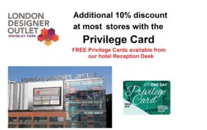 Free Wembley Shopping Pass for Wembley International Hotel guests
