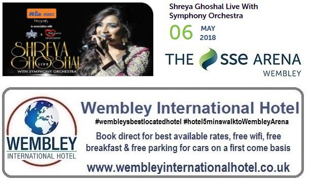 Shreya Goshal at The SSE Arena, Wembley 2018