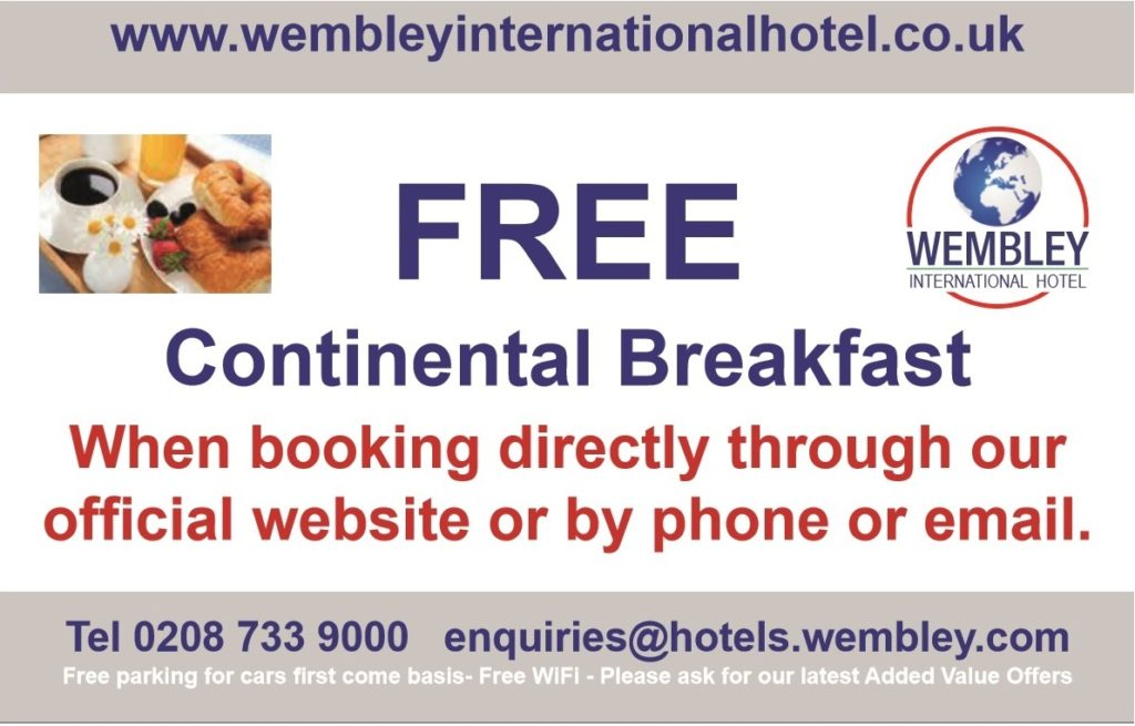 Free breakfast at Wembley International Hotel