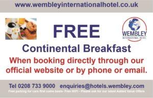 Free breakfast at Wembley International Hotel