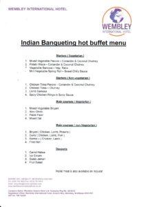 Indian banqueting menu Wembley International Hotel