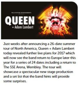 Queen with Adam Lambert Wembley Arena Dec 2017