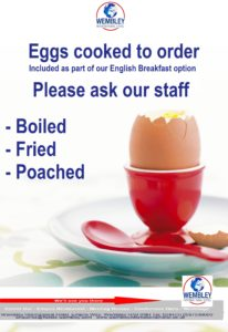 Eggs cooked to order - fried, poached or boiled - as part of our English breakfast option