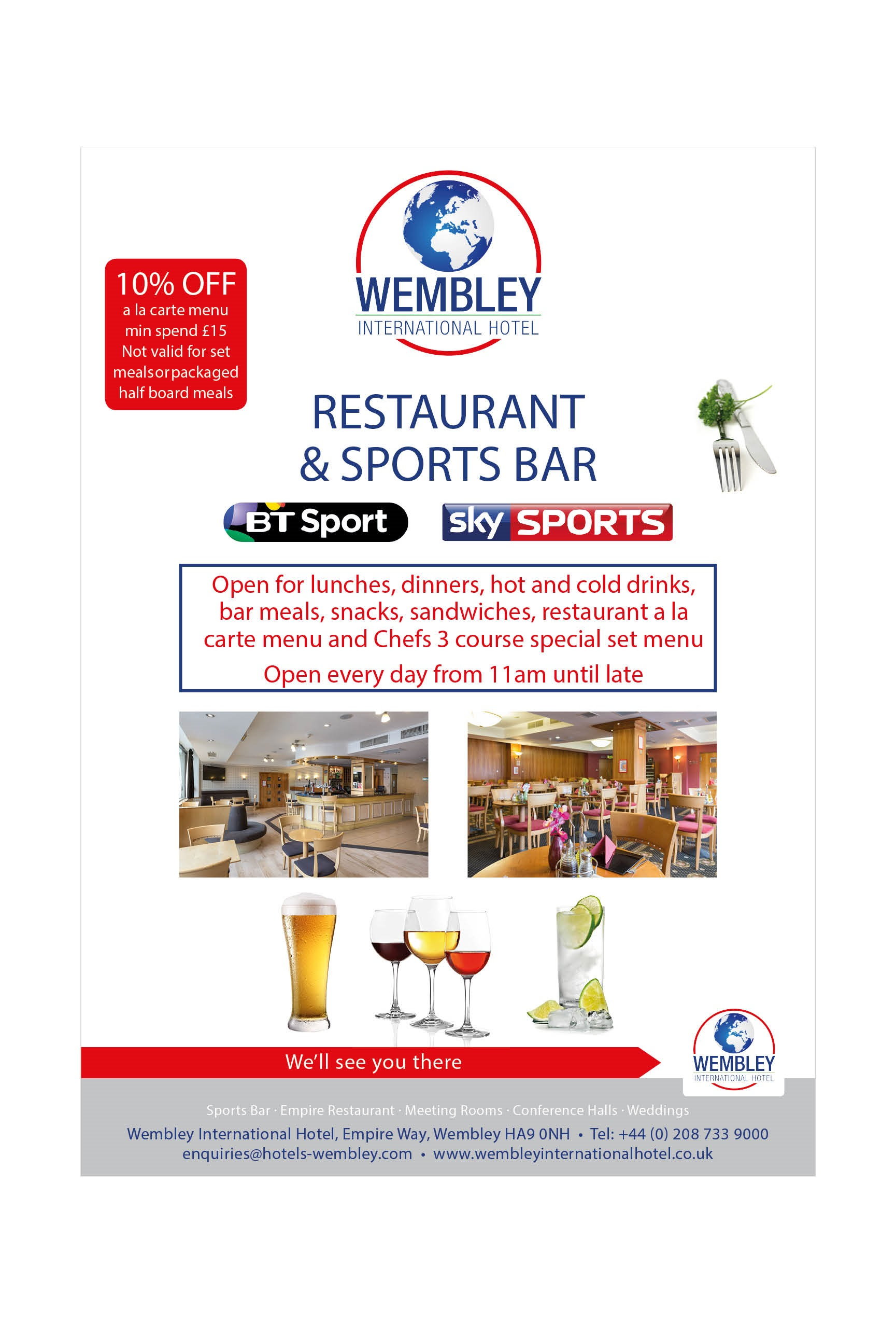 Empire Restaurant Wembley 10% discount off a la carte menu
