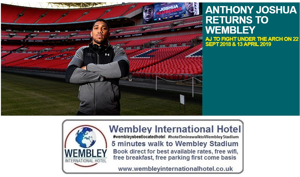 Anthony Joshua to flight at Wembley Stadium 2018 - 2019