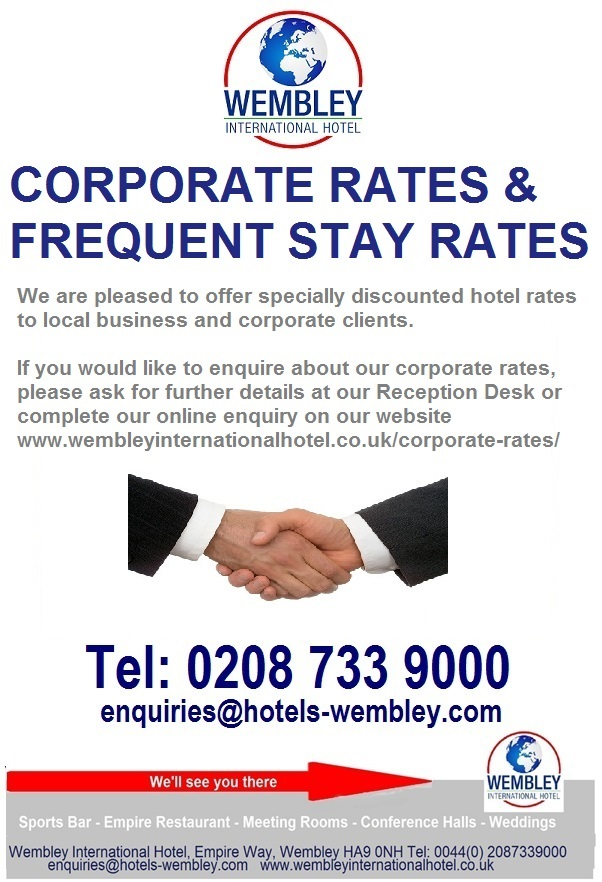 Corporate rates at London Wembley International Hotel