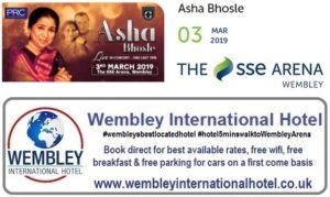 Asha Bhosle Wembley Arena 3 Mar 2019