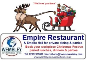Christmas lunches dinners at parties at Wembley International Hotel