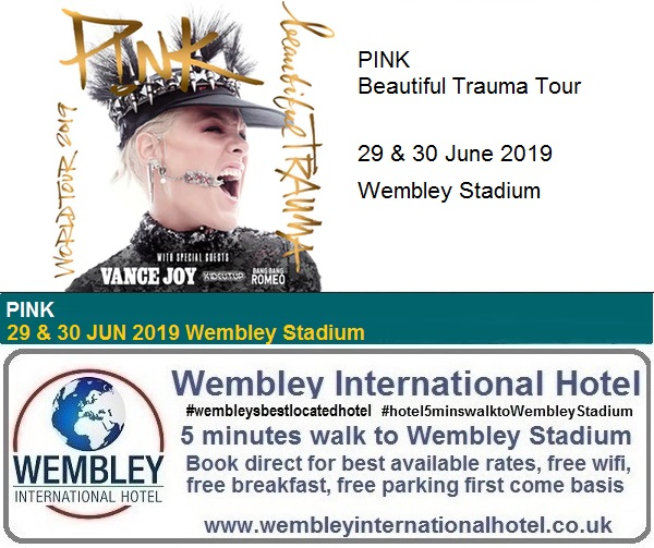 Pink Wembley Stadium June 2019