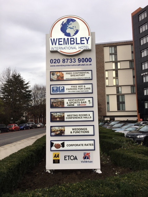 Wembley International Hotel totem sign