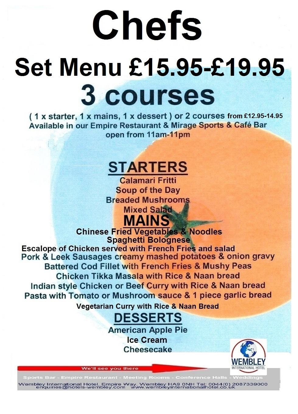 Wembley Empire Restaurant 3 course set menu