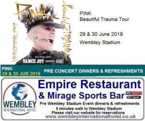 Pink Wembley Stadium pre concert dinners