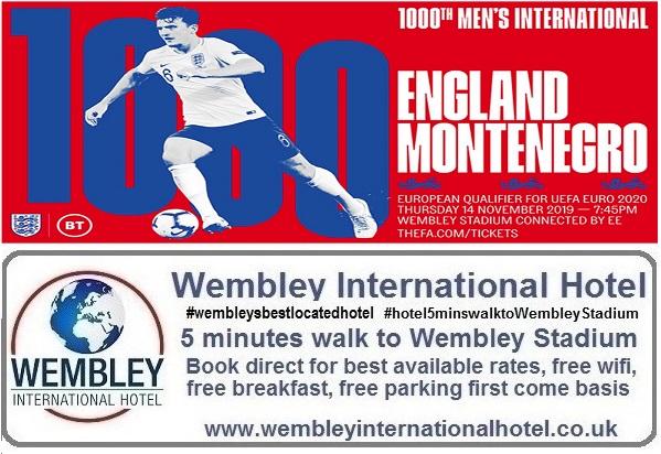 England v Montenegro Wembley Stadium Nov 2019