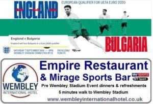 England v Bulgaria pre event refreshments and meals