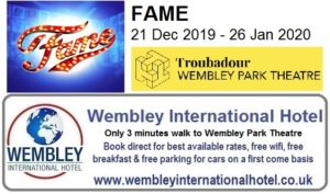 Wembley Theatre Fame The Musical Dec 2019-Jan 2020